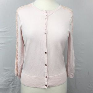 Ted Baker Ginahh Pink Lace-Inset Cardigan